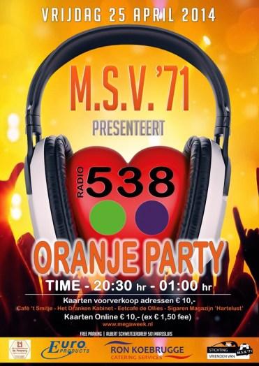 Affiche Oranje Party 2014 web