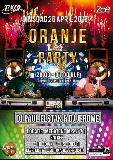 affiche oranje party